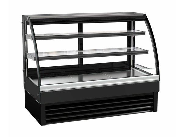 Combisteel Kühlvitrine | Glas gebogen | Schwarz | 298 Liter | 1500x680x(h)1200mm