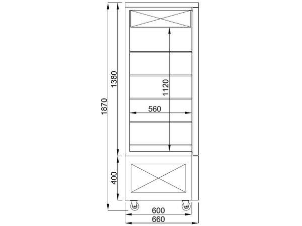 Combisteel Kühl-Konditoreivitrine für Schokolade | Schwarz | 400 Liter | 800x660x(h)1870mm