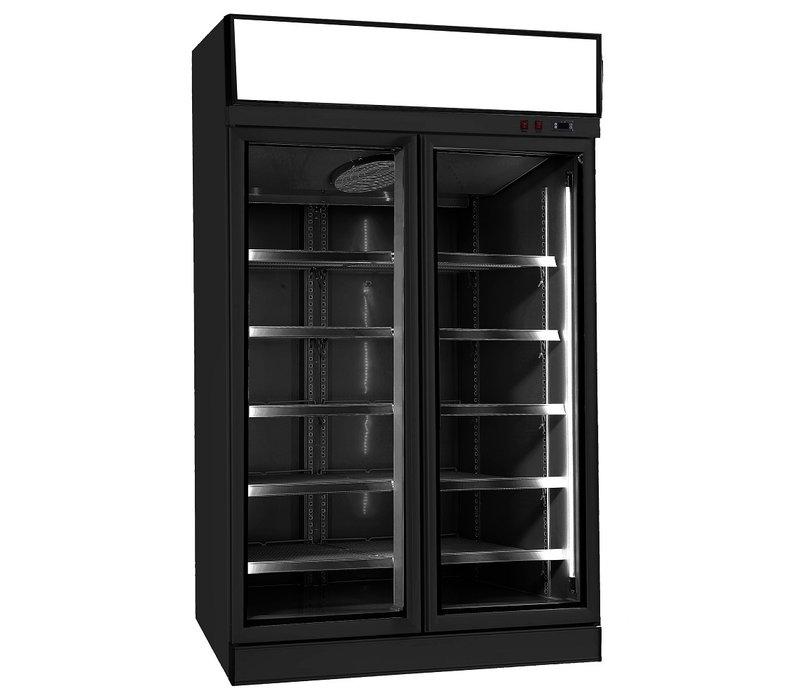 Combisteel Gefrierschrank | 2 Glas Türen | Schwarz | 960 Liter | 1253x710x(h)2092mm