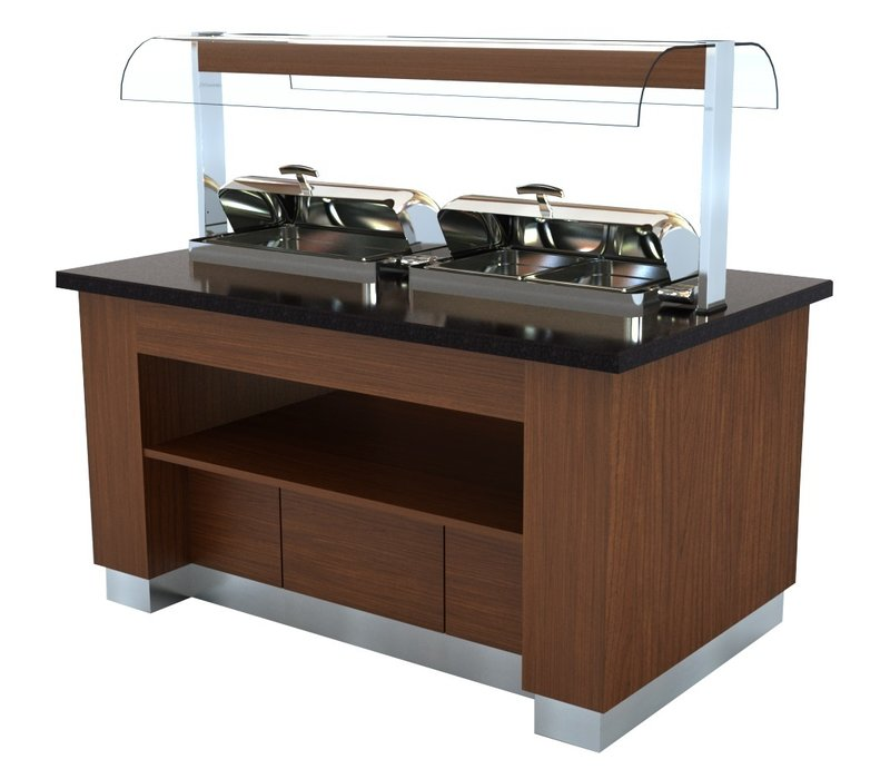 Combisteel Buffetwagen warm | Farbe Wenge | 2x 1/1GN Chafing Dish | 1600x1000x(h)900/1450mm