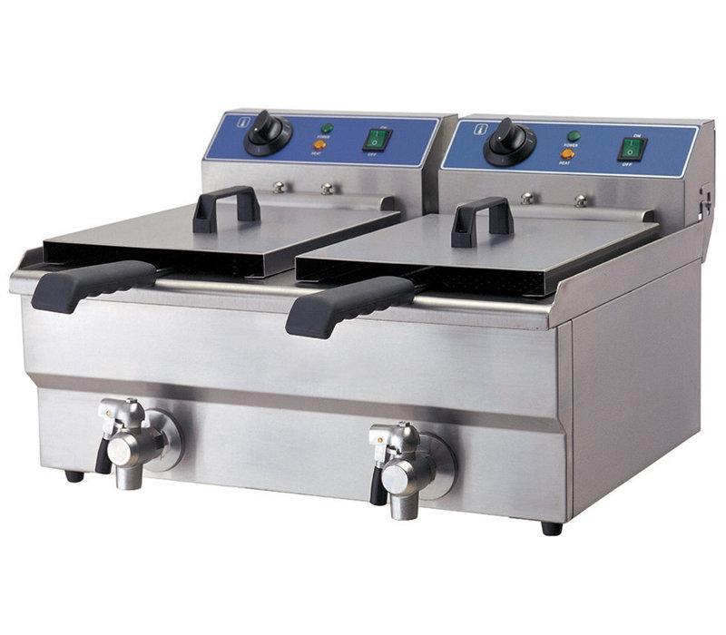 GGG Elektro Fritteuse | 2x 6 Liter | Ablasshahn | 570x460x325mm | 230V-2x3,25kW