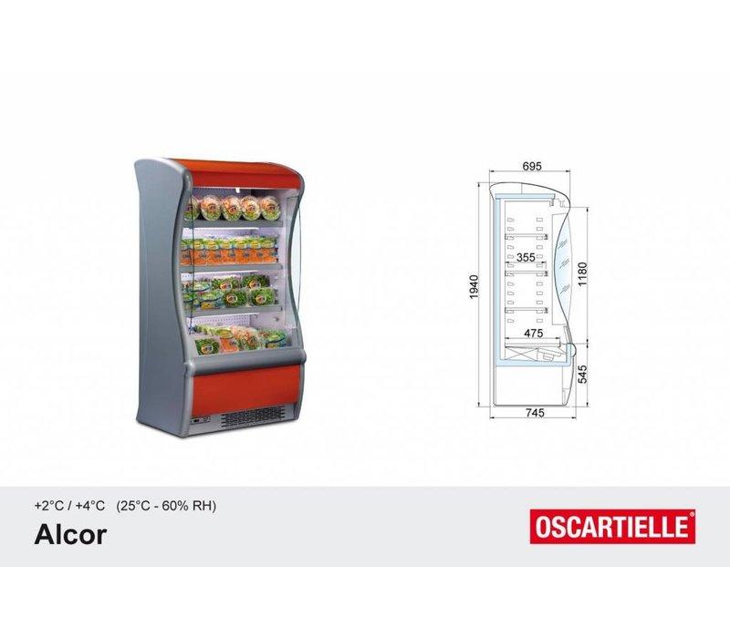 Oscartielle Wandkühlregal mit Rollo | Alcor 190 | Steckerfertig | 199,5x74,5x194 cm