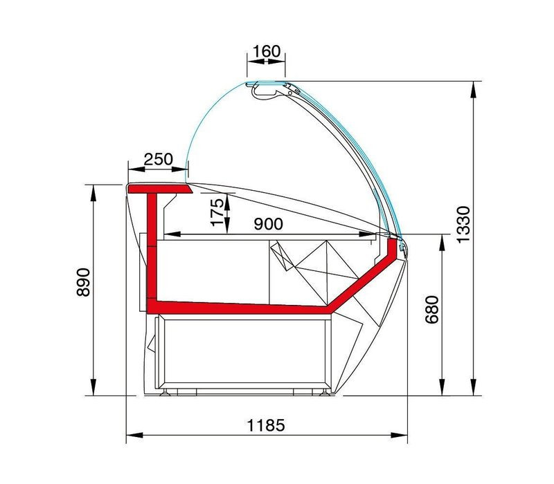 Oscartielle Beleuchtete Kühltheke | Oscartielle MAJOR 3850 VCA | 383,0x118,5x(h)133cm