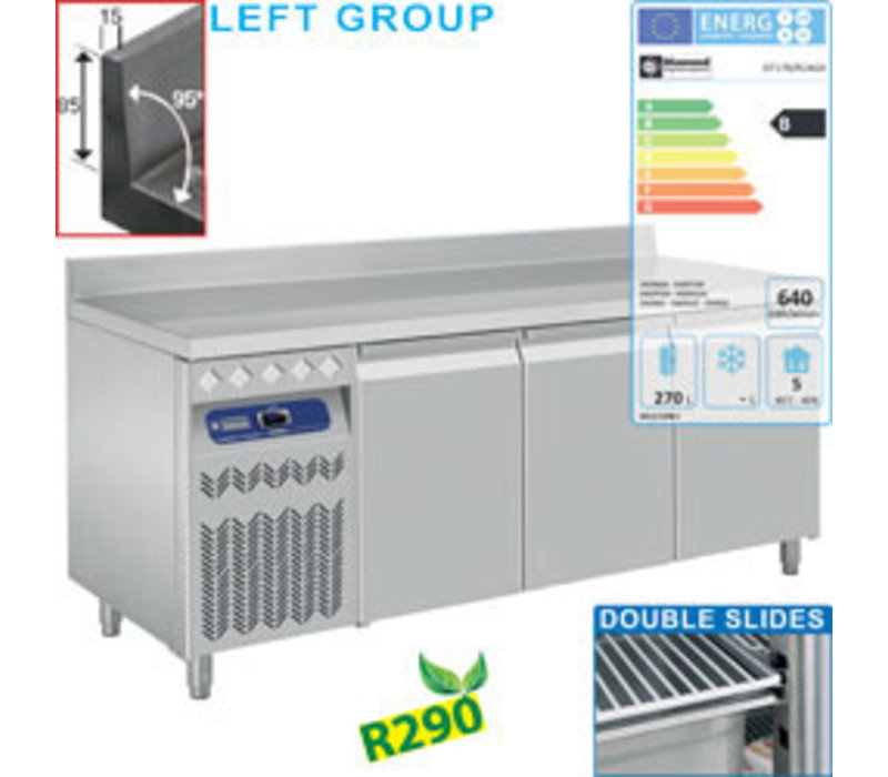 Diamond Kühltisch mit Aufkantung | 3 Türen GN 1/1 | 405 Liter | Gruppe links | 1775x700xh880/900