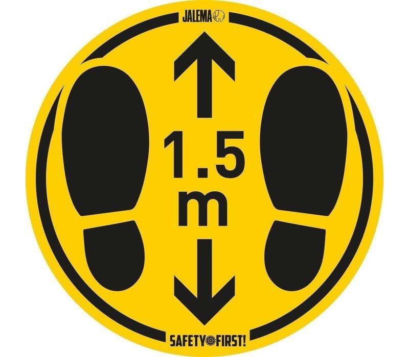 XXLselect Bodenaufkleber für glatte Böden   Abstand halten   Gelb-Schwarz   Ø350mm   Set mit 2 Stück