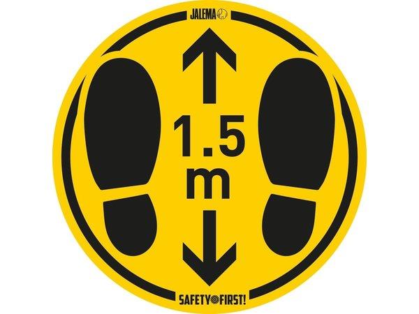 XXLselect Bodenaufkleber für raue Böden | Abstand halten | Gelb-Schwarz | Ø350mm |  Set mit 2 Stück