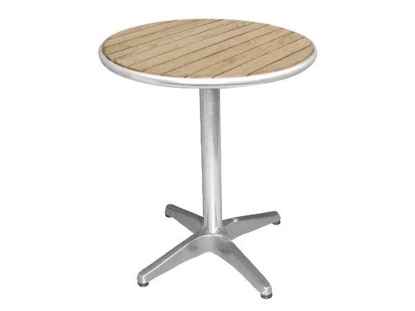 Bolero Bistro Tisch Terrasse   Aluminiumgestell mit Holzplatte   72(H)x60(Ø)cm