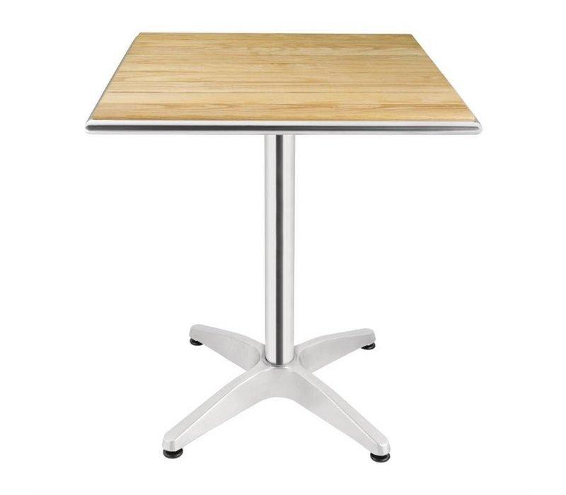 Bolero Quadratischer Bistrotisch | Gestell Aluminium mit Holzplatte | 72(h)x60x60cm