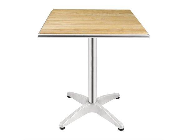 Bolero Quadratischer Bistrotisch | Gestell Aluminium mit Holzplatte | 72(h)x70x70cm