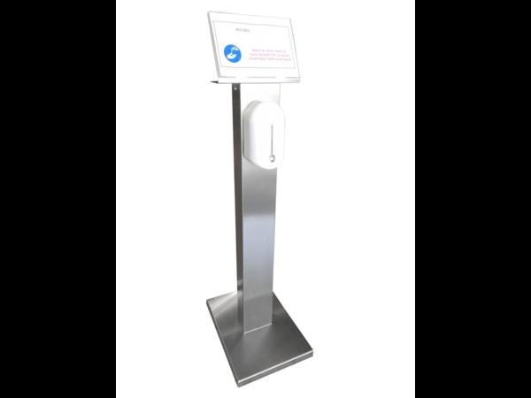 Sofinor Desinfektionssäule Edelstahl | Automatische Verteilung | Hydro-alkoholisches Gel | 525x375x1409mm