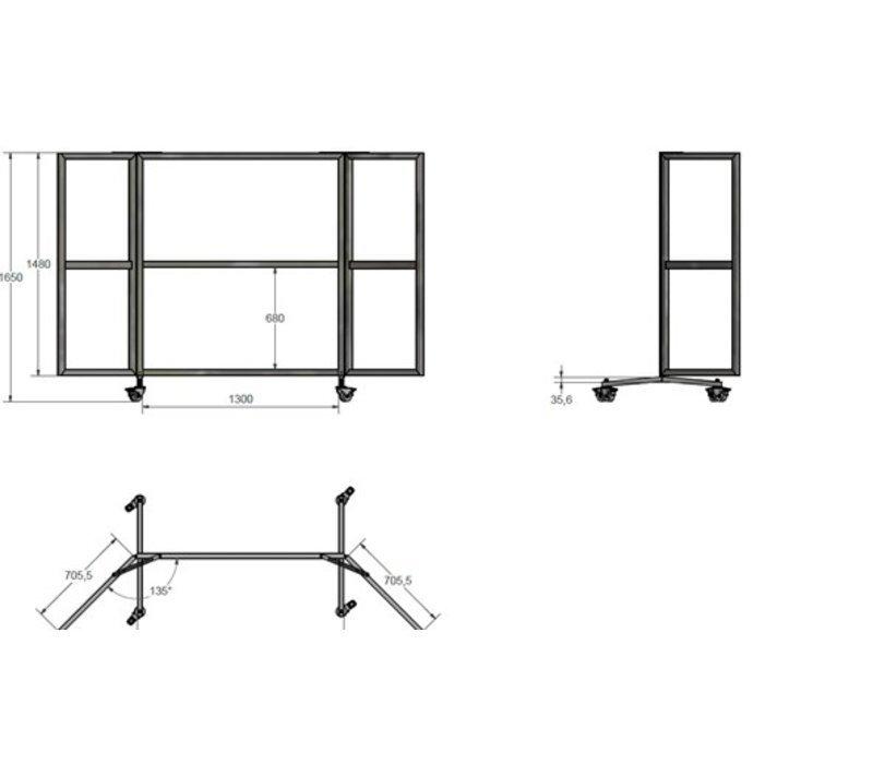 Veba Terrassenscheibe / Windschutzscheibe | 6 Plexiglasfenster | 4 Lenkrollen