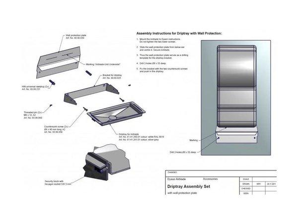 Dyson Wassertropfschale / Tropfschale für Dyson Händetrockner (Universal) | Grau + Edelstahl Spritzwand