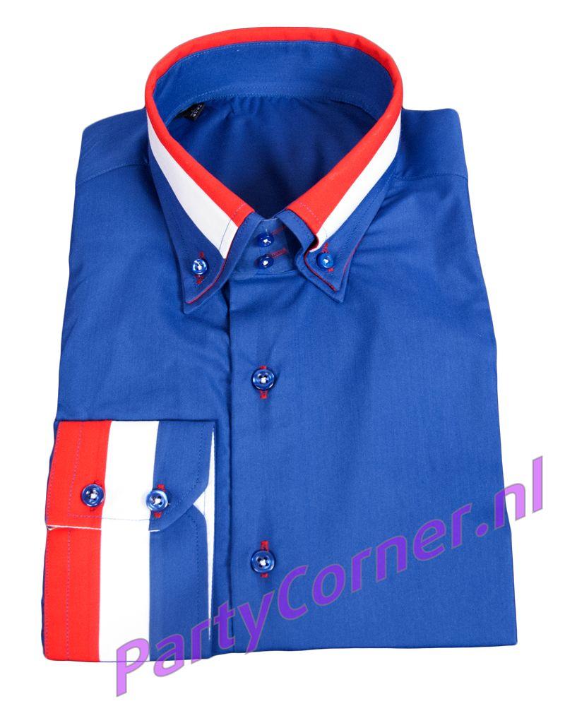 Heren Overhemd Rood.Overhemd Blauw Partycorner Nl