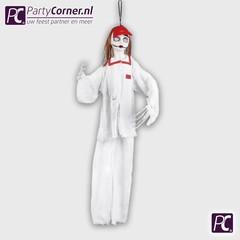 Witte horror clown hangdecoratie pop