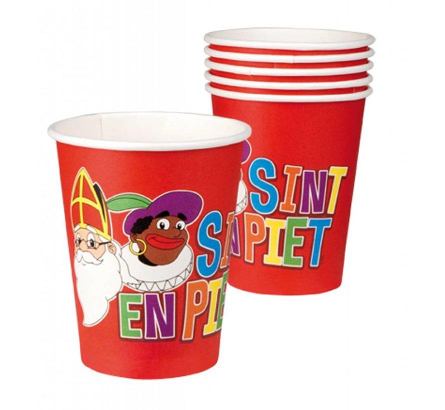 Bekertjes Sint en Piet a 6 stuks 25 cl