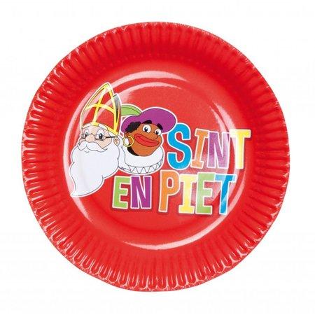 Bordjes Sint en Piet a 6 stuks (18 cm)