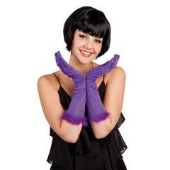 Halflange paarse handschoenen