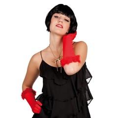 Halflange rode handschoenen