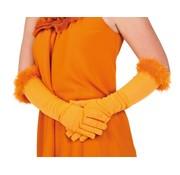 Halflange Oranje handschoenen