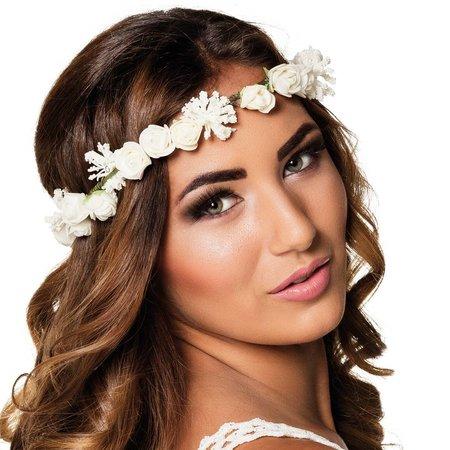Luxe witte bloemenkrans haar ketting