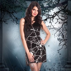 Glitter spinnenweb jurk