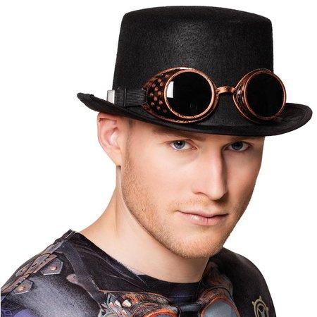 Zwarte steampunk hoge hoed met bril