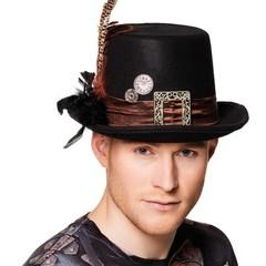 Steampunk hoed zwart