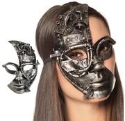 Steampunk half-gezichts masker zilver