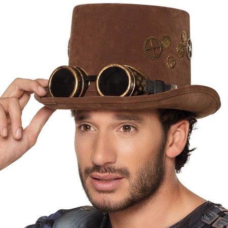 Steampunk hoge hoed met bril