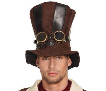 Hoge hoed steampunk met bril
