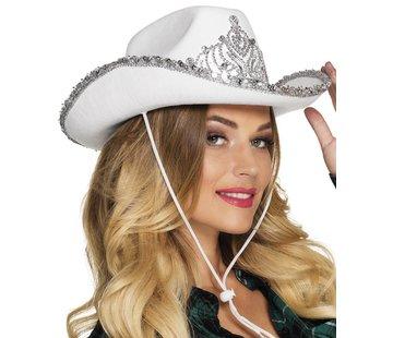 Dames witte cowboy hoed