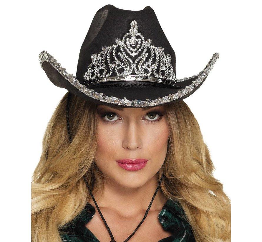 Dames zwarte cowboy hoed met kroontje