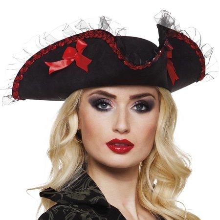 Dames zwarte piratenhoed met kant