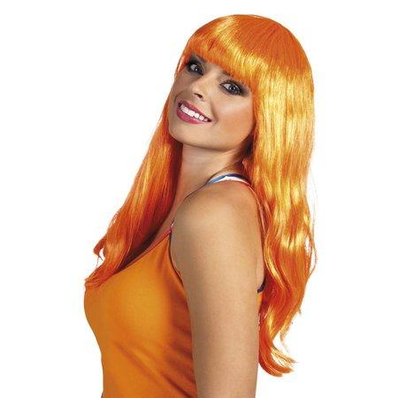 Goedkope oranje pruik lang haar