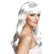 Lange witte pruik