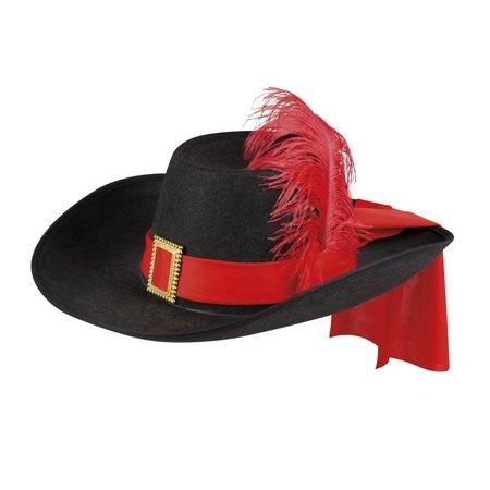 Musketiers hoed rood gepimpt