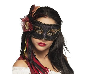 Zwart venetiaanse oogmasker piraat