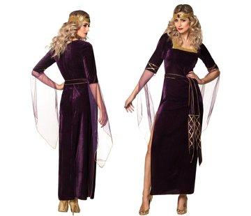 Fluwelen middeleeuwse jurk