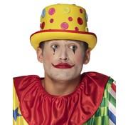 Gele clownshoed met knopen