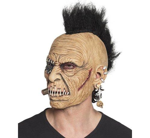 Latex hoofdmasker Horror rocker met haar