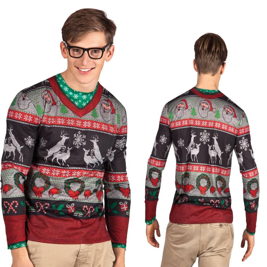 Foute Kersttrui Maat 80.Heren Fop Shirt Foute Kerstkleding Partycorner Nl