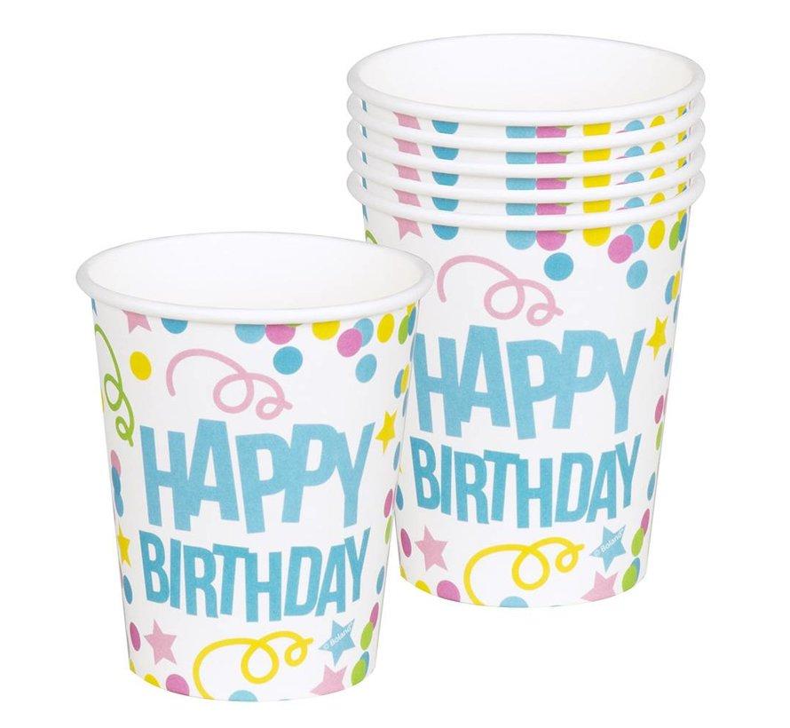 Kartonnen Happy Birthday bekertjes