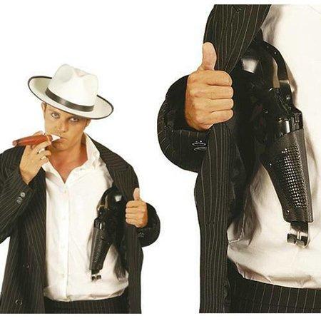 zwarte schouderholster met plastic revolver