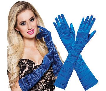 Handschoenen geplooid satijn blauw