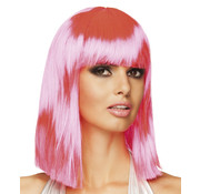Half lang neon roze pruik