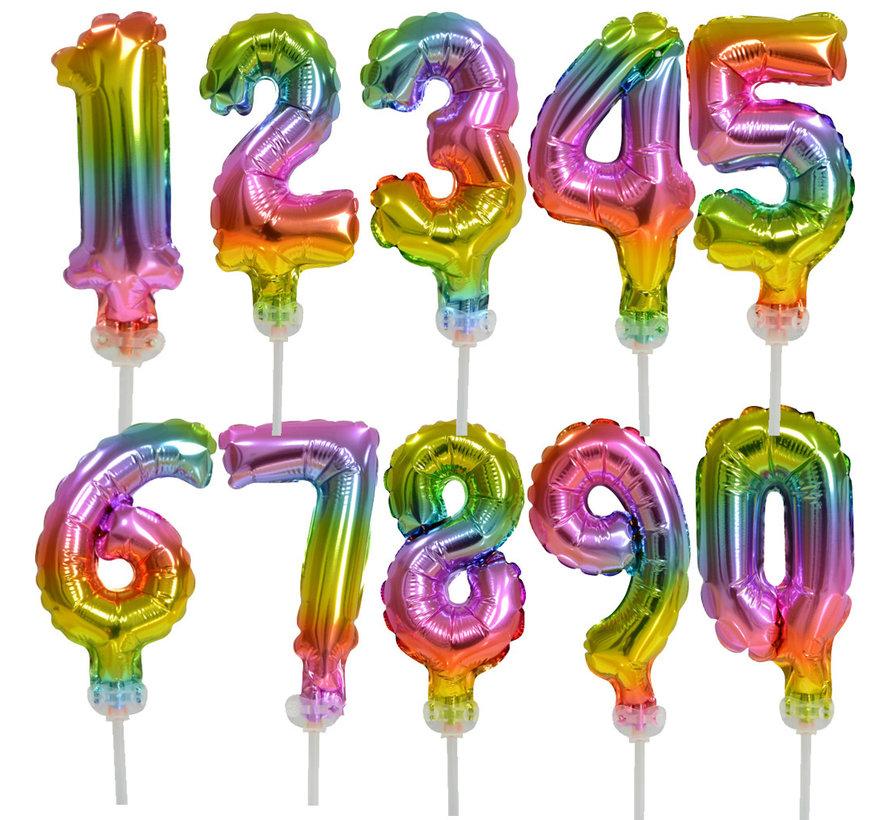 Regenboog taart decoratie ballonnen cijfers 16