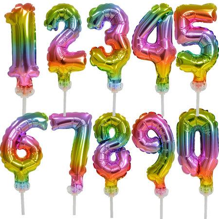 Regenboog taart decoratie ballonnen cijfers 70