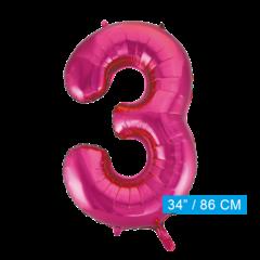 Roze cijfer ballon 3
