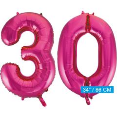 Roze cijfer ballonnen 30
