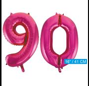 Cijfer ballonnen roze 90